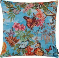 The Cushion Shop Butterfly Paradise - Sierkussen - 44x44 cm - Blauw