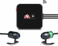 Zwarte Motocam E6L 2CH Dual Wifi motor dashcam voor auto