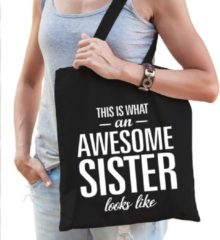 Shoppartners Katoenen kadotas This is what an awesome sister looks like zwart - cadeautas voor zusjes