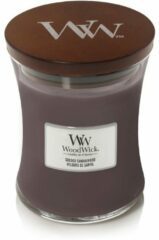 Zandkleurige Woodwick Hourglass Medium Geurkaars - Sueded Sandalwood