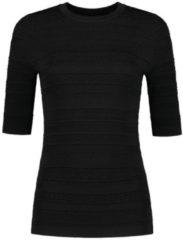 NIKKIE fijngebreide basic top Karla met textuur zwart