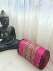 DeSfeerbrenger Yoga blok - Traditionele Thaise Kapok Yoga Ondersteuning Blok Kussen - Meditatie Kussen rechthoek - 35x15x10cm - Roze