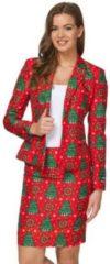Rode Suitmeister Kerst & Oud & Nieuw Kostuum | Klassieke Kleuren Kerstboom | Vrouw | Maat 36-38 | Kerst | Verkleedkleding