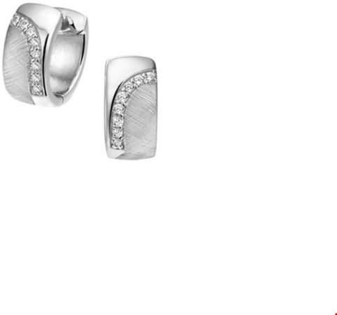 Afbeelding van Zilveren The Jewelry Collection Klapoorringen Zirkonia En Gescratcht - Zilver Gerhodineerd