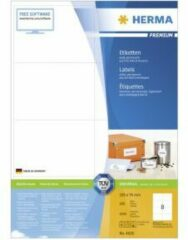 Witte Merkloos / Sans marque Herma Prem. Etiketten 105x74 200 Bl. DIN A4 1600 stuks 4626