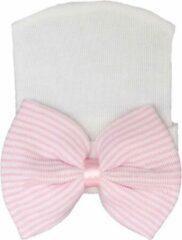 KidsLuxury Geboortemuts / babymuts / ziekenhuismuts wit met witte strik - 0 tot 1 maand