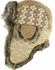 AOP Pilotenmuts muts met oorflappen bontmuts voor dames kleur beige ruit motief maat 56 57 58 centimeter