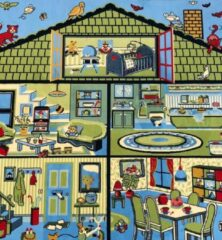 Sens Kids Rugs Poppenhuis kindervloerkleed - kindertapijt - 100 x 100 cm - wasbaar - zacht - duurzame kwaliteit - speelgoed