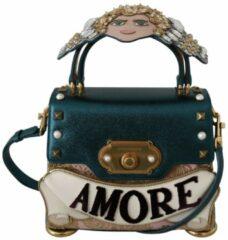 Blauwe Dolce & Gabbana Blue Leather Angel Amore Crossbody WELCOME Purse