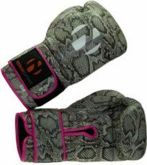 Zwarte Bokshandschoenen Snake Nihon | slangenprint & roze | 12 oz