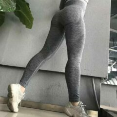 LOUZIR Fitness/Yoga legging - Fitness legging - sport legging Stretch - squat proof - donkergrijs - Naadloos - Maat L