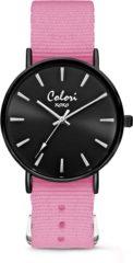 Colori XOXO 5 COL558 Horloge geschenkset met Armband - Nato Band - Ø 36 mm - Roze / Zwart