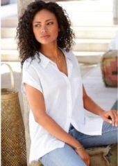 Witte LASCANA Overhemdblouse, van linnenmix