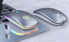 George Napoli - Wireless Gaming mouse - Draadloze Gaming muis - Oplaadbare game muis - RGB - Led - Stille muis - Zilver