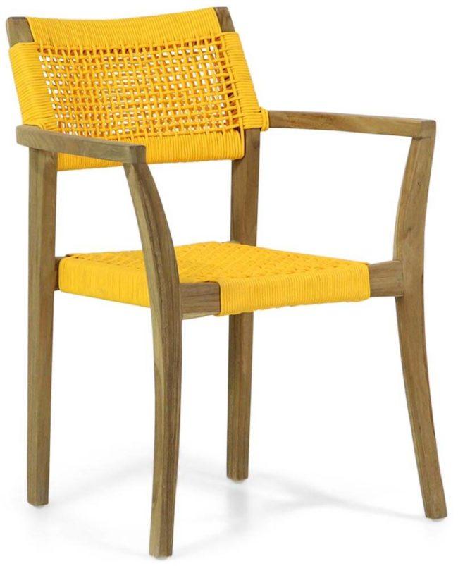 Afbeelding van Gele Lifestyle Garden Furniture Lifestyle Dallas dining tuinstoel rope stapelbaar