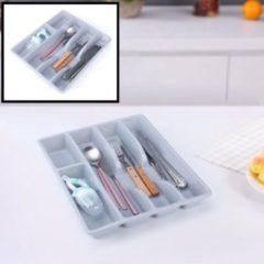 Decopatent® Besteklade - Met 5 Vakken - Bestekbak - Kunstof - Bestekbakken - Keukenla bestek organizer - 26 x 31 x 4.5 Cm - Grijs