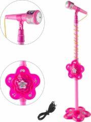 Geeek Kindermicrofoon op statief? Speelgoedmicrofoon op standaard ? Roze