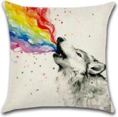 Grijze By Javy Rainbow - Wolf - Kussenhoes - 45x45 cm - Sierkussen - Polyester