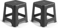 Forte Plastics Set van 3x stuks rotan opstapje/krukje in het zwart - 32 x 32 x 30 cm - Keuken/badkamer/slaapkamer handige krukjes/opstapjes