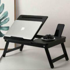 Laptoptafel voor op Bank of bed van bamboe hout - Met Telefoon & Tablet houder - Hoogte verstelbaar, kantelbaar & Inklapbaar - Bedtafel / Banktafel voor laptop, boek, tablet - Ontbijt op bed tafel - Kleur: ZWART - Decopatent®