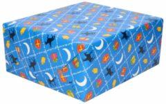 Merkloos / Sans marque XL Sinterklaas kadopapier print blauw 2,5 x 0,7 meter op rol 70 gram - Luxe papier kwaliteit cadeaupapier/inpakpapier - Sint en Piet