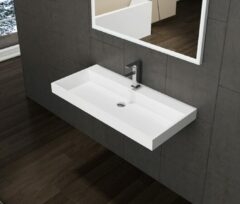Lambini Designs solid surface wastafel zonder kraangat 80x47x8cm mat wit