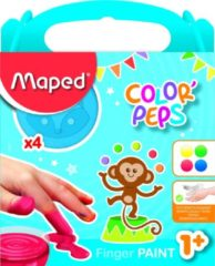 Maped vingerverf Color'Peps Early Age, doos van 4 potjes van 80 ml in geassorteerde kleuren