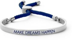 Key Moments 8KM BC 0026 Stalen Open Bangle met Tekst en Rope make dreams happen Grootte 58x45 mm Zilverkleurig / Donkerblauw