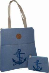 Jessidress Stoer Handtasje met Portemonnee van Jutte Strandtas - Blauw