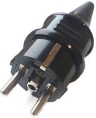 Zwarte Groenovatie Netsnoer Stekker 3-Polig - Waterdicht IP44