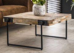 Zaloni Vierkante salontafel Emmo 80x43x80 cm breed - Teakhout verweerd