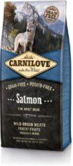 Brit Carnilove Adult granenvrij hondenvoer Zalm 12kg met 70% vis!