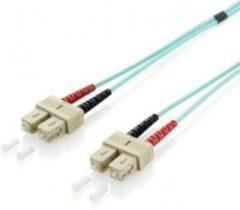 Groene Equip SC/SC 50/125μm 3.0m Glasvezel kabel 3 m OM3 Turkoois