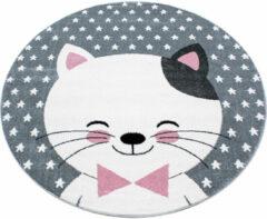 Kids Laagpolig Vloerkleed - Kitty - Rond - Roze - 160 x 160 cm - Vintage, Patchwork, Scandinavisch & meer stijlen vind je op WoonQ.nl