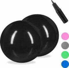 Relaxdays 2x fitnessbal 85 cm - gymbal - zitbal - yogabal - pilatesbal - kantoor - zwart