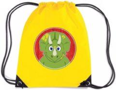 Gele Shoppartners Dinosaurus rijgkoord rugtas / gymtas - geel - 11 liter - voor kinderen