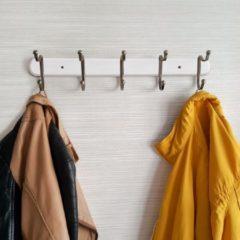 Witte Tatkraft Wandkapstok Met 5 Dubbele Ophang Haken - Hangende Design Muurkapstok - Muur/Wand Kledinghaak Wardrobe - Hout/Metaal