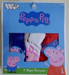 Entertainment One Set van 3 Peppa George onderbroeken maat 116/128, rood/wit/blauw