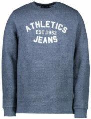 Cars Jeans Cars - Heren - Sweater met Ribmotief - Ronde Hals - Model Sonics - Blauw mêlee