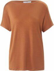 Shirt met korte mouwen en boothals Van Peter Hahn bruin