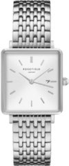 Rosefield Watches - The Boxy Dames Horloge | Wit/Zilver | Roestvrijstalen band | Vierkant | Quartz uurwerk | Waterdicht | 3 ATM | Ø33mm