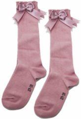 Roze IN Control, kniesokken met satijnen STRIK, 876-2 dusty pink 17-19