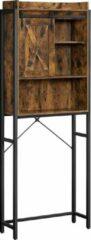VASAGLE - Badkamerkast- badkamerrek met stalen frame- 64 x 24 x 171 cm , vintage bruin-zwart-eenvoudige montage-industrieel design-badkamerkasten hoog-kolomkast badkamer-badkamerkast staand-Wc rek