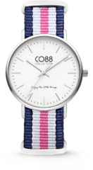 CO88 Collection Watches 8CW 10029 Horloge - Nato Band - Ø 36 mm - Blauw / Wit / Roze