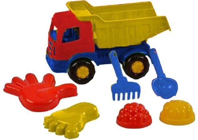 Afbeelding van Polesie Toys Polesie Strandset Met Kiepwagen 7-delig Blauw/geel/rood