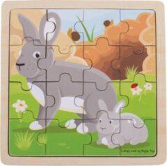 Bigjigs Toys - Houten Puzzel 'Konijn met Jong' (16st.)