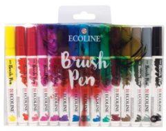 Witte Talens Ecoline Brush pen, etui met 15 stuks in geassorteerde kleuren