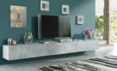 Pro-meubels - Zwevend Tv-meubel - TV kast - Tunis - Wit - Betonlook - 300cm - 3x100cm