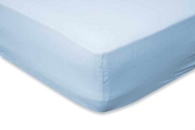 Afbeelding van Lichtblauwe Elegance Hoeslaken Katoen Perkal 35cm Hoekhoogte - licht blauw 180x220cm