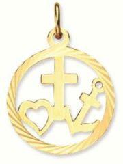 Goudkleurige Classics&More Glow - Gouden religieuze hanger Gediamanteerd